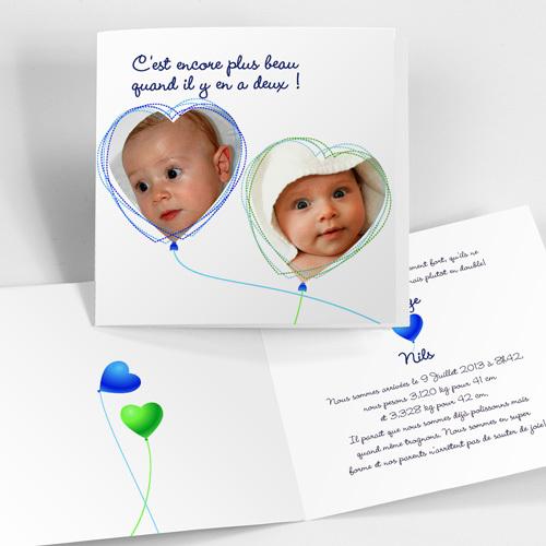faire part de naissance jumeaux avec photos dans coeurs. Black Bedroom Furniture Sets. Home Design Ideas